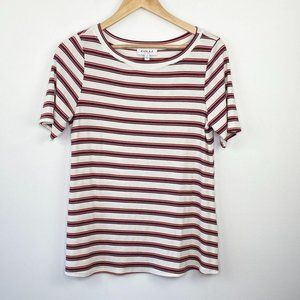 Gilli White Striped Short Sleeve Ribbed T-Shirt LP